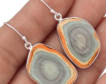 """Imperial Jasper Sterling Silver Earrings. 1 5/8"""" Long. 2971"""