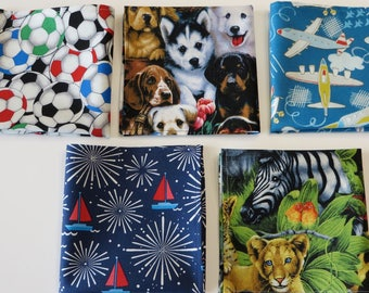 Boys cloth napkins, 5 Lunch Box Napkins for boys Wild Animals, Dogs, Airplanes, soccer ball or baseball, sailboats, Handmade
