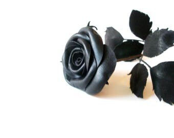 3rd anniversary gift -red leather rose -Black Leather Rose -  black magic-Flower  Gift- Long Stem Flower