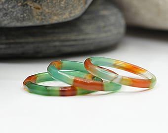 Agate Stacking Ring, Ring Set, Gemstone Band Ring, Minimal Ring, Green Orange Ring, Natural Ring, Carved Stone Ring, Hypoallergenic Ring