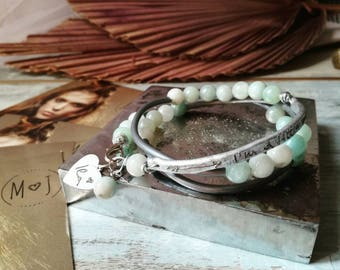Handstamped bracelet, dedication bracelet, Beaded bracelet, personalized jewelry, multistrand bracelet, boho bracelet, zen bracelet