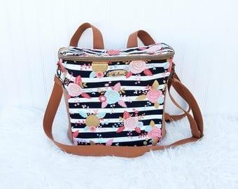 Floral Striped Madelyn Backpack Diaper Bag