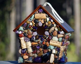 Mosaic Birdhouse,stone birdhouse,purple mosaic,large birdhouse,wine cork birdhouse,garden decor,outdoor birdhouse,spring decor,gift for her