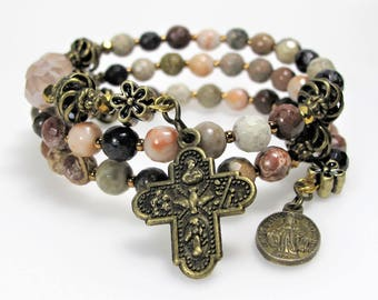 New Agate Mix Mauve Semi-precious Rosary Wrap Bracelet Catholic Jewelry Bridesmaid Gift Mother's Gift Confirmation Unique One-Of-A-Kind,#555