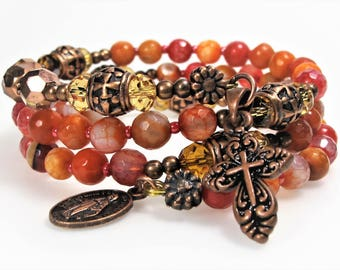 Rosary Bracelet Wrap New Agate Mix Red Semi-precious Catholic Jewelry Bridesmaid Gift Mother's Gift Confirmation Unique One-Of-A-Kind,#561