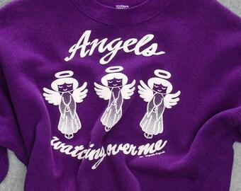 Angels Watching Over Me Sweatshirt 1993 Purple White Puffy Graphic Vintage Fleece XXL 7W