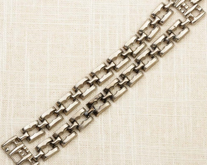 Double Strand Vintage Bracelet Silver Square Links Chain Costume Jewelry 16S