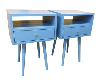 Mid Century Inspired End Table / Nightstand Set - MADE TO ORDER 120 days