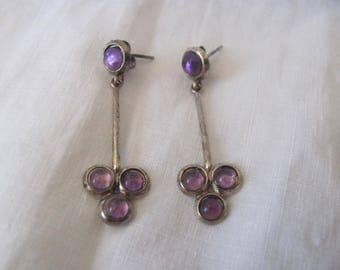 Vintage Sterling Amethyst Earrings, Pierced Earrings, Amethyst Clover Dangle, February Birthstone