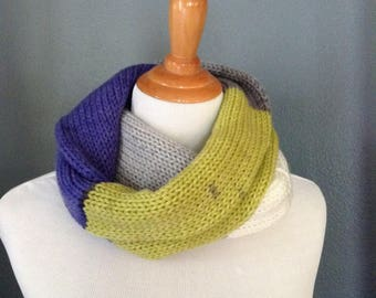 Lime Green Infinity Scarf, Long Infinity Scarf, Knit Infinity Scarf, Color Block Scarf, Adult Women Scarf, Fall Scarf, Long Circle Scarf