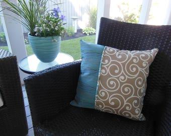 Outdoor Pillow - Ikat Pillow - Beige Scroll Porch Pillow - Blue Pillow - Aqua Pillow -  Beige Tan Pillow - Stripe Pillow - Patio Pillow
