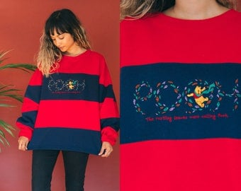 Winnie The Pooh Striped Sweatshirt / 90s Disney Sweatshirt / Color Block Embroidered Pullover Novelty Soft Disneyland Slouchy Oversized