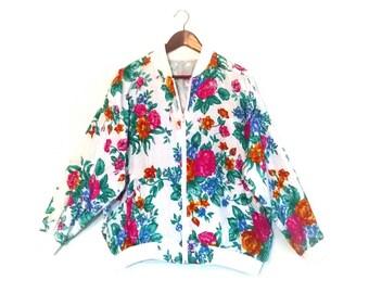 Vintage 1990's Ladies' Bomber // Retro Bomber Jacket // 90's Ladies' Bomber
