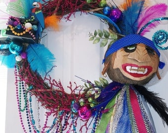 GASPARILLA WREATH Pirate Festival Krewe COcoNUt HeAD TAMPA Beads by Mama Duck Creations Large