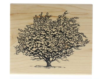 Inkadinkado Single Tree Blowing in the Wind Wooden Rubber Stamp
