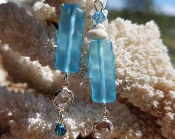 Beach glass lagoon earrings
