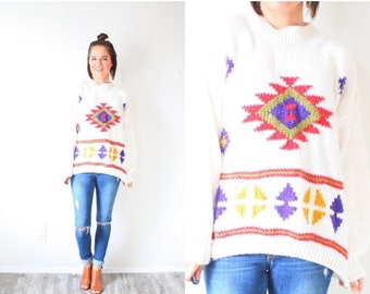 30% OFF SALE Vintage cream aztec tribal print sweater // boho navajo sweater // winter sweater // Christmas sweater // tribal print sweater