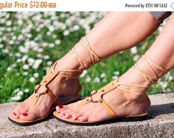 ON SALE Tie Up Gladiator Sandals, Thong Leather Sandals, Hippie Unique Style with Metal Rings and Rivets Available in Colors - SAPPHIRE