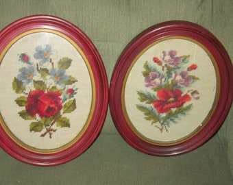 pair of needlepoint pictures framed oval frames vintage needlepoint