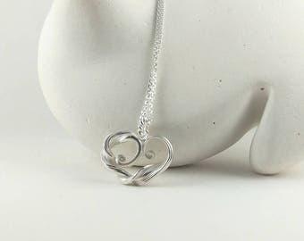 Sterling Silver Heart Necklace, Unique Heart Necklace in Mitsuro