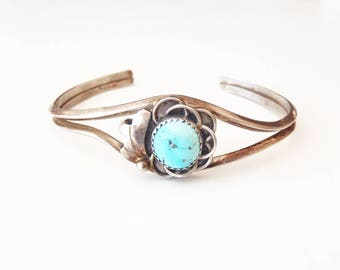 Navajo Style Sterling Silver Turquoise Bracelet Vintage Asymmetric Unsigned Southwestern Brutalist Cuff, Sky Blue Stone w/ Pyrite Inclusions