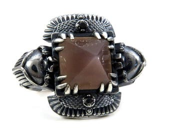 Scarab Egyptian Revival Sterling Silver Ring with Smoky Moonstone Pyramid and Black Diamonds