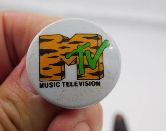 Vintage 1980's 90's MTV Music Television Pin Pinback Button DR26