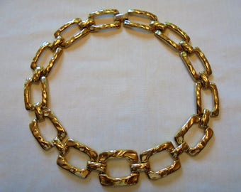 Vintage Collar Necklace Hammered Gold Plated Tone Metal Square Links Retro Mod Statement