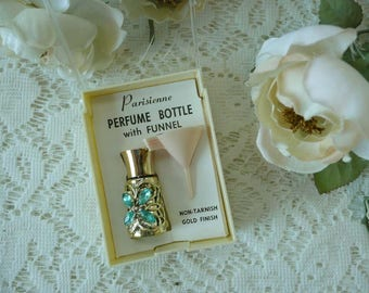 Pretty Vintage Purse Sized Refillable Parisienne Rhinestone Perfume Bottle With Funnel In Box