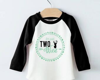 Two Wild Tee Shirt design - boys black and teal iron on - boys 2nd Second Birthday - In two the wild - Instant Download