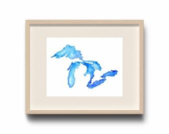 Cold Waters, Great Lakes Print, Great Lakes Watercolor, Great Lakes Art, Great Lakes Map, Great Lakes Decor, Michigan Print, The Big Lake