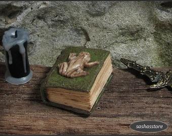 1:12 Dollhouse Miniature Aged Book, Miniature Book, Magic Book, Spell Book, Old Book, Fairy Garden