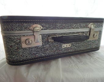 Vintage Suitcase with White Stitching