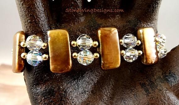 Luxury Pearl and Swarovski Crystal Artisan Bracelet; One of a Kind Pearl Jewelry