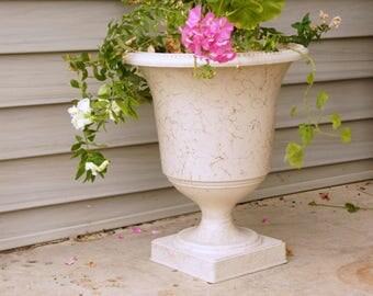 Mid Century Planter, Vintage Garden Urn, Plastic Pedestal Planter, Gold Drizzle Spaghetti, Atomic Ranch Decor