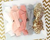 READY to SHIP Wool Felt 2.5 inch chunky bow  DIY blushing bride, white, wheatfield, silver grey, gold glitter