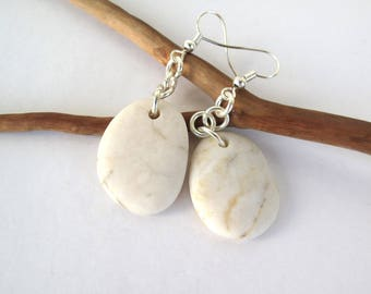 Beach Stone Earrings Mediterranean Pebble Jewelry Natural Stone Rock River Stone Earrings Silver SNOW WHITE