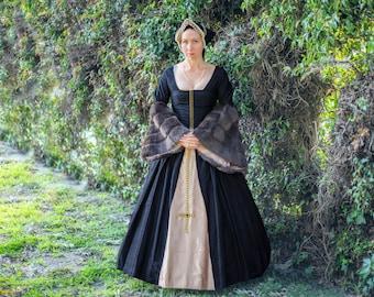 Anne Boleyn Halloween costume Elizabethan Renaissance black dress and matching headdress