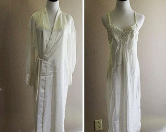 SALE White lace and beaded bedroom set with slip and robe with see through sleeves