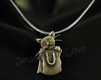 Sterling Silver Cat Necklace - Cat in the Bag