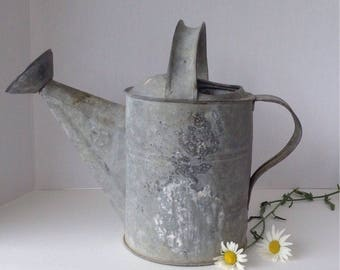 Vintage Smaller Galvanized Metal Watering Can / Flower Sprinkler / Industrial / Farmhouse