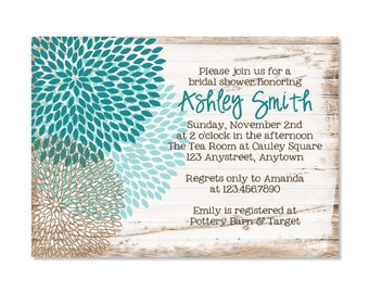 Rustic Floral Bridal Shower Invitation