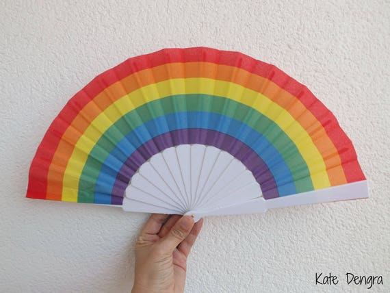 Rainbow Pride Plastic Spanish Hand Fan Limited Edition