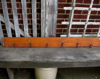 Vintage Wall Coat Rack Rescued from an Old House 6 Hooks Rustic Primitive