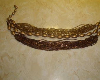 vintage necklace choker multi strand goldtone yellow amber tiny seed beads