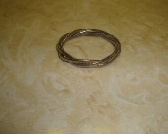 vintage bracelet goldtone silvertone coil chain braid