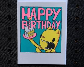 happy birthday cake slice card, bear birthday card, cute birthday card, screen printed birthday card, free shipping on orders 200+
