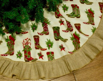Western Cowboy Christmas Tree Skirt Rodeo Christmas Western