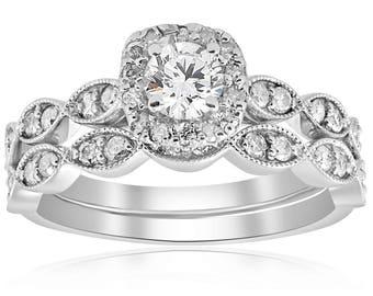 Diamond Engagement Ring, 7/8 cttw Cushion Halo Diamond Engagement Wedding Ring Set 14k White Gold Vintage