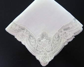 Brussels Lace Bridal Hanky White Batiste Heirloom 11 1/2 by 11 1/2 inches 955b